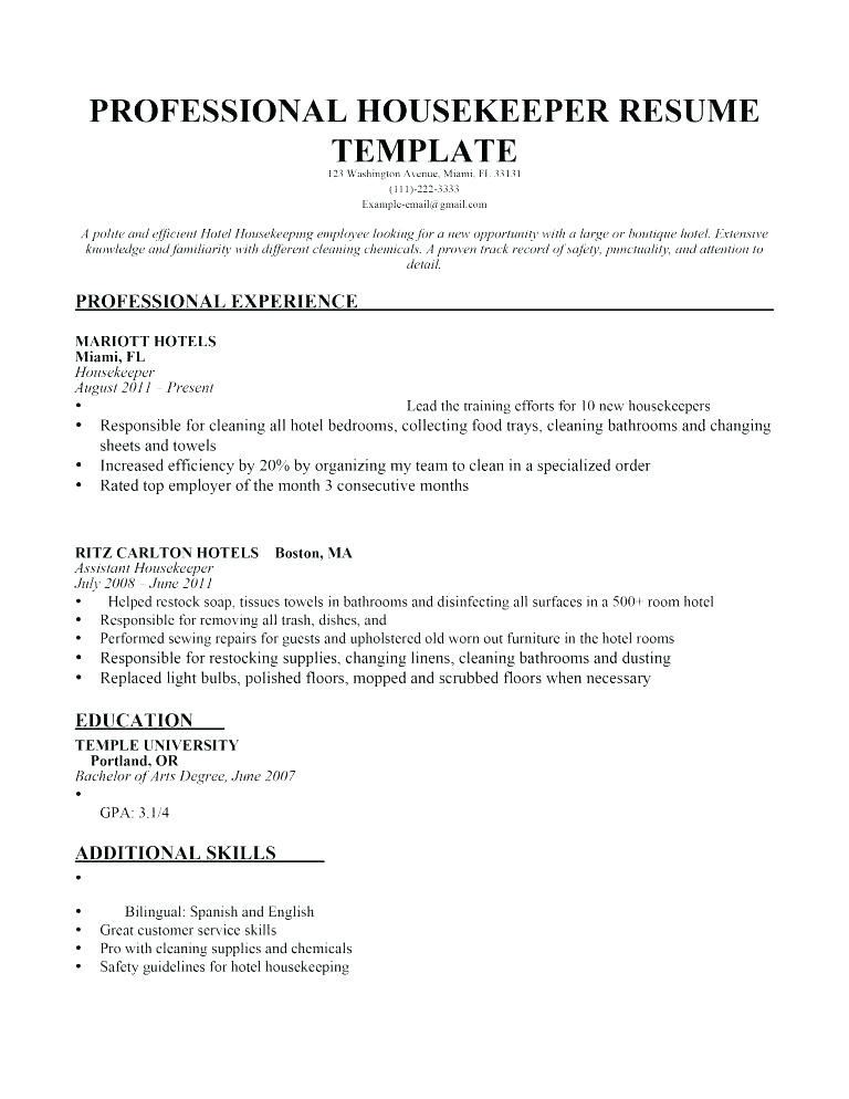 Resume examples housekeeping hospital Jobs - Resume Templates