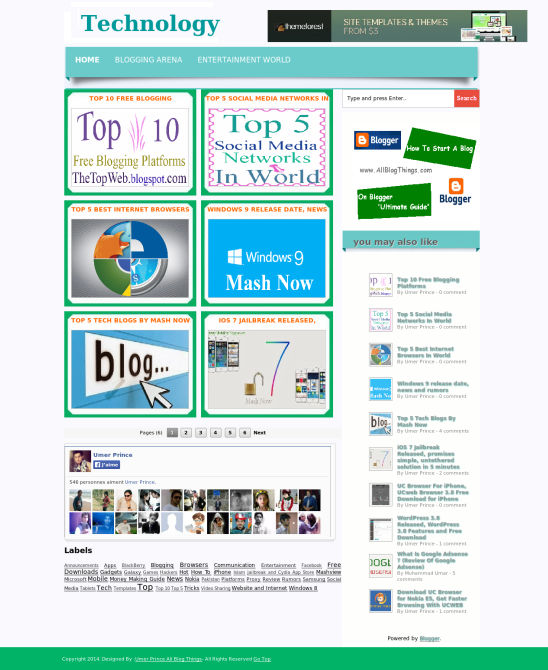 metro blogger template screen shot 1