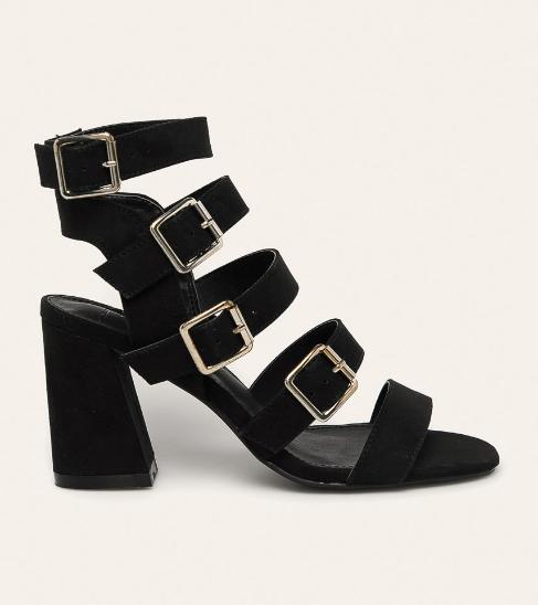 Sandale cu toc gros de vara si barete late negre moderne si ieftine