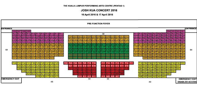 Josh Kua [ RELENTLESS . 信捷 ] Concert Malaysia 2016 Seating Plan