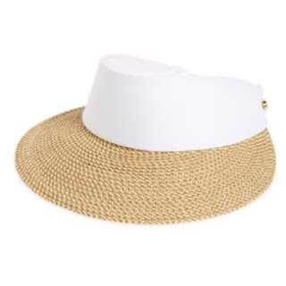 Eric Javits Squishee Champ white and beige jute canvas adjustable visor