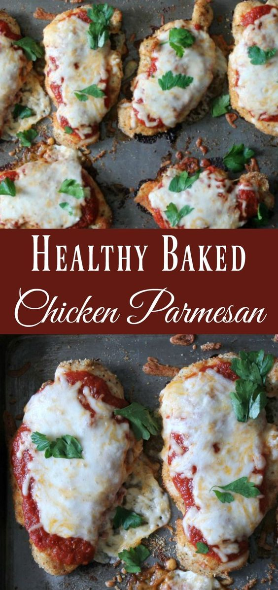 Thin chicken cutlets dredged in tasty breadcrumbs, smothered in sauce and cheese, and baked to perfection. This is the most delicious healthy chicken parmesan recipe.