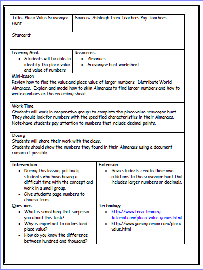 core lesson plan template common core lesson plan template doc