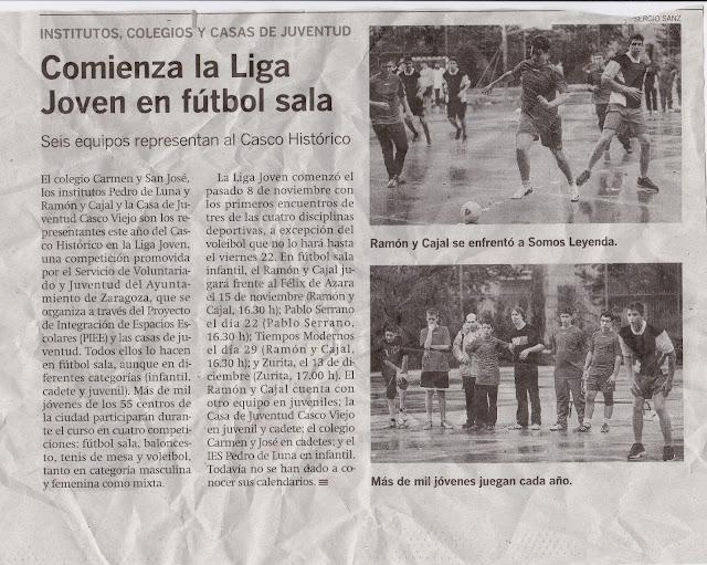 NOTICIA LA CRÓNICA ZGZ DEL CASCO HISTÓRICO: Comienza la Liga Joven en el fútbol sala