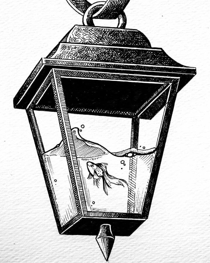 08-Fish-in-a-lamp-Diana-Sofia-Animal-Drawings-www-designstack-co