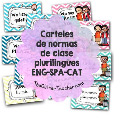 Carteles de normas de clase plurilingües inglés castellano catalán