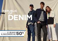 Logo OVS : acquista 2 jeans ( donna, uomo, bambino) e il secondo lo paghi la metà