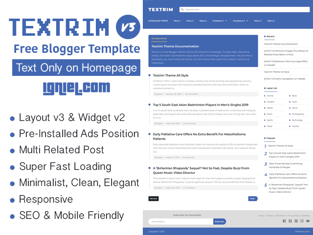Textrim Blogger Template Text Only on Homepage