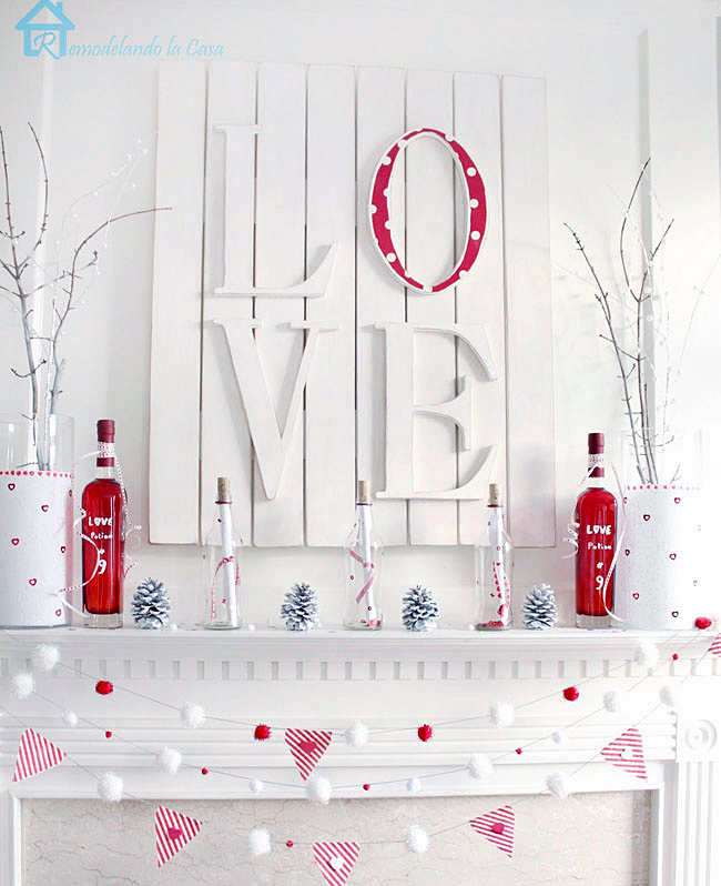 red and white mantel display for Valentines day
