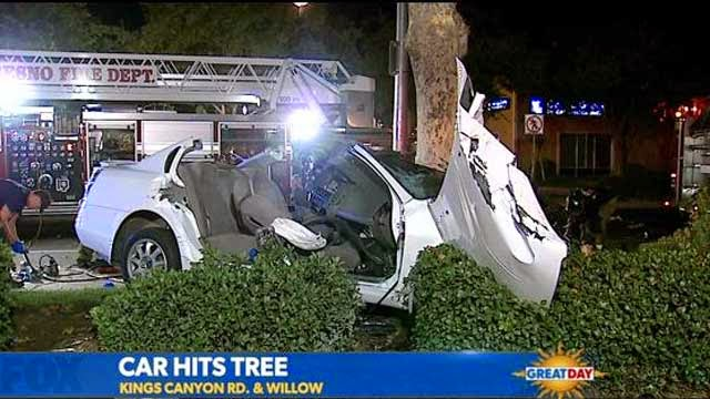 car crash hits tree fresno accident kings canyon road willow avenue
