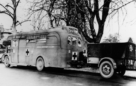 Photograph of a Greenline bus converted into an American Medical Corps ambulance at North Mymms Park in the 1940s Image from Ron Kingdon