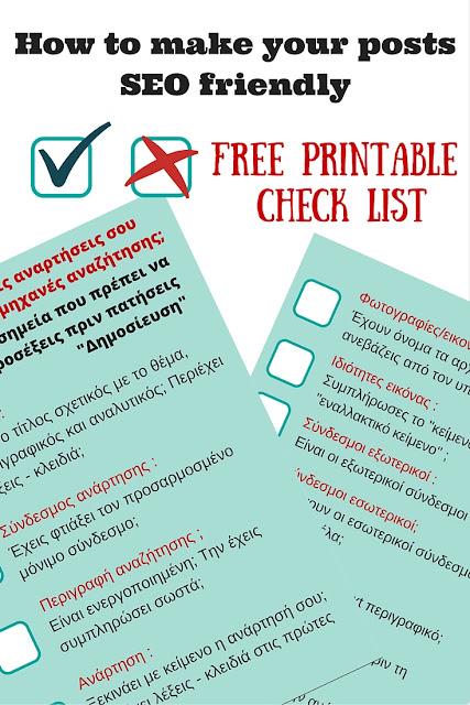 SEO Free Printable Check list