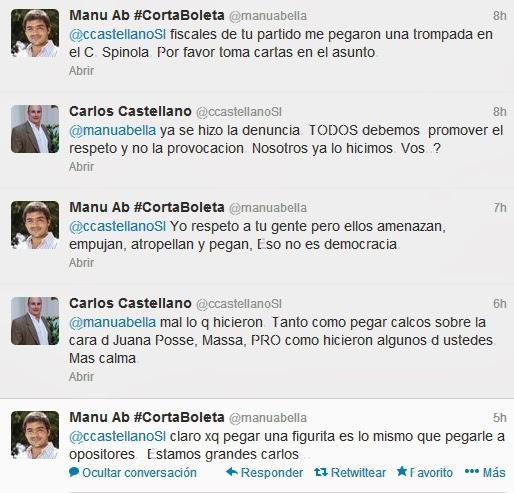 Duro cruce entre Manuel Abella y Carlos Castellano