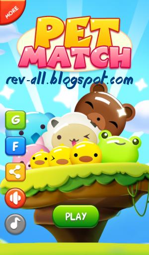 Tampilan utama permainan Game Android Pet Match (menyocokkan hewan peliharan) permainan shared by rev-all.blogspot.com