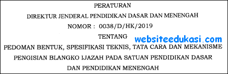 Juknis Penulisan Ijazah 2019 SD SMP SMA SMK
