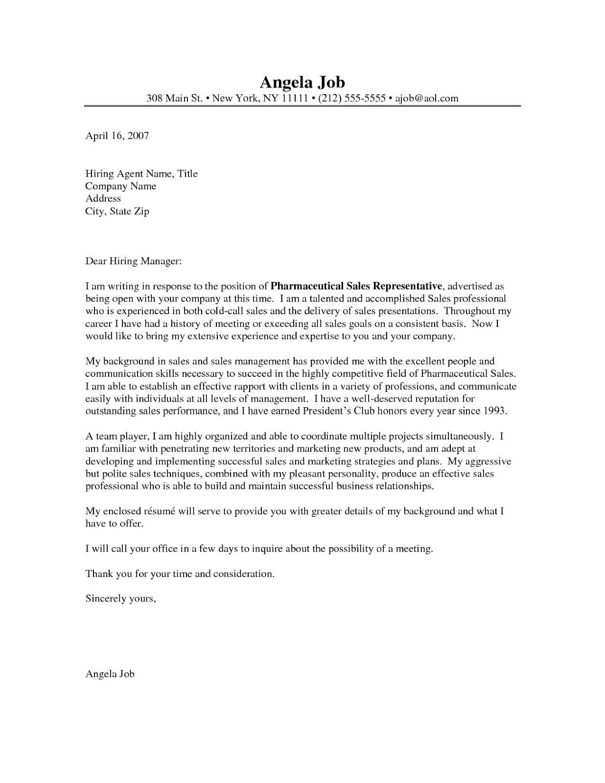 sample cover letter for resume pharmaceutical sales