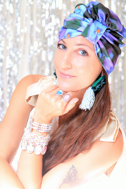Violet Floral Print Organic Cotton Turban by Mademoiselle Mermaid
