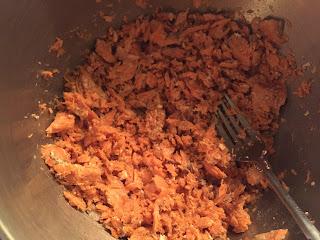 Making salmon burgers