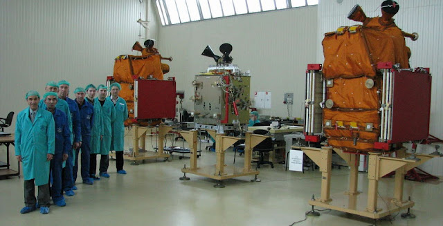 Engineers working on the BKA-1 satellite. Photo Credit: VNIIEM.