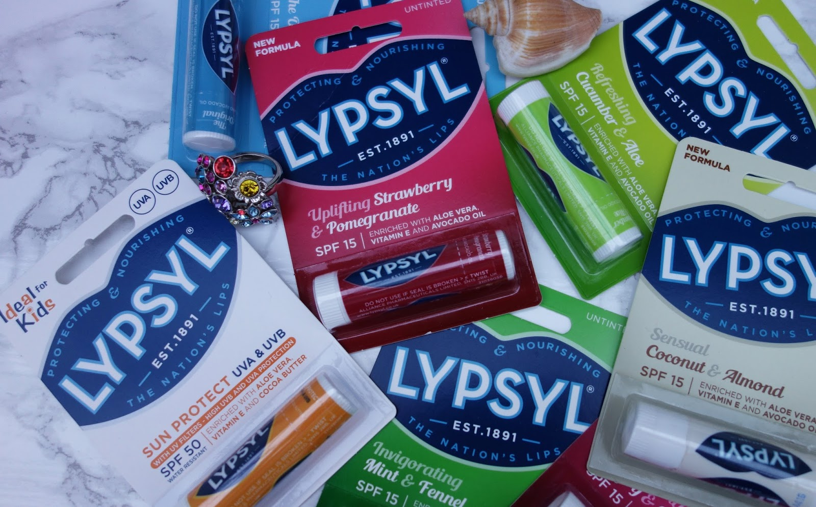 New packaging of Lypsyl lip balm in seven flavours