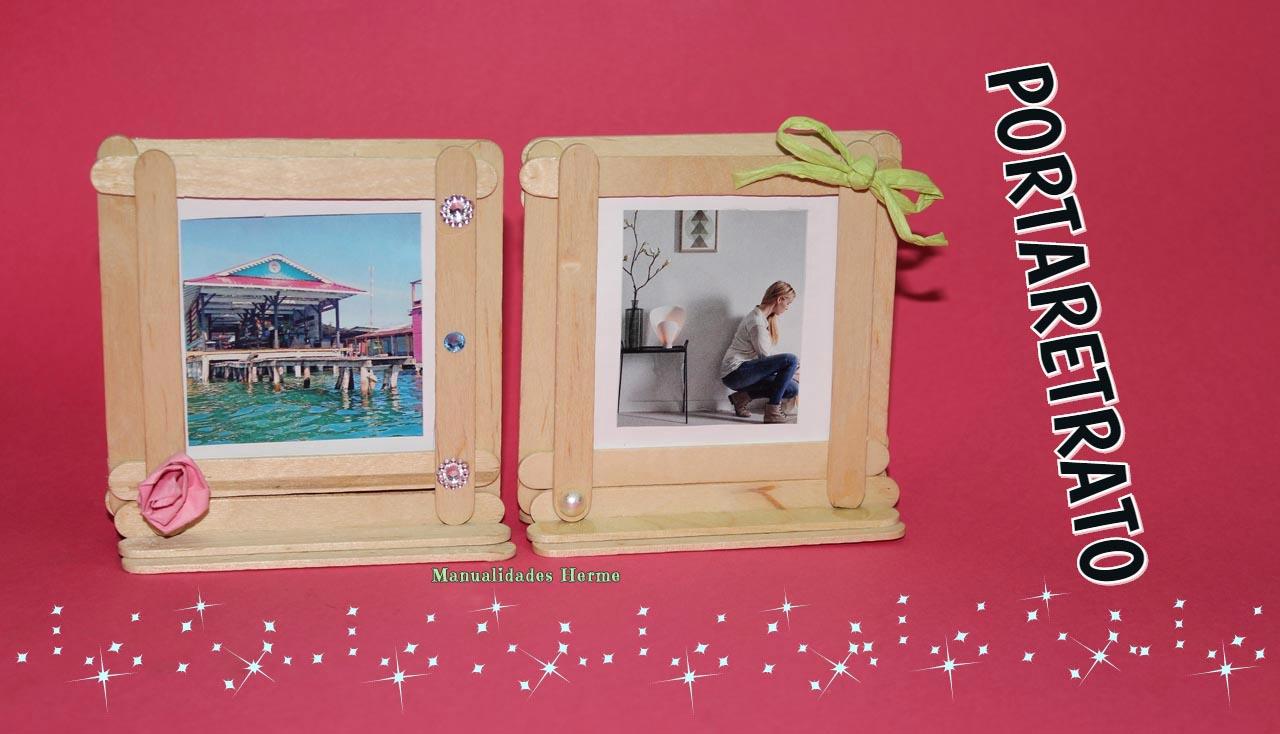 Manualidades herme portaretratos con palitos de helado for Como poner fotos en la pared