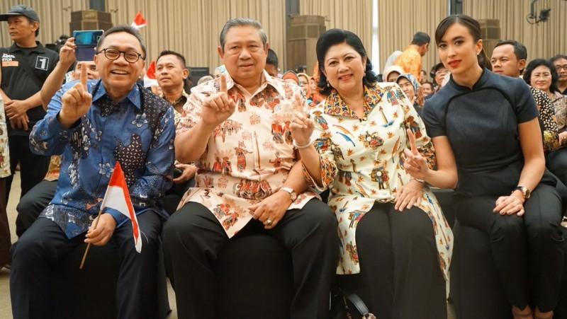 SBY dan Ani Yudhoyono menghadiri pidato politik AHY