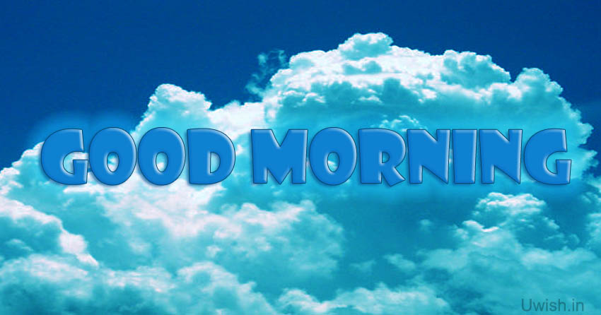 Good morning e greeting cards and wishes in sky.