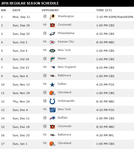 Pittsburgh Steelers Game Day Schedule Download Free