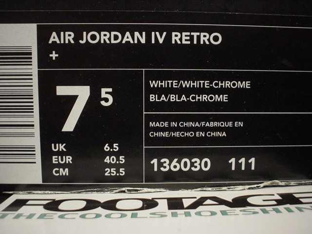 outlet store 5f667 e2d4a 136030 111 AIR JORDAN IV RETRO + WHITE WHITE-CHROME MADE IN CHINA 000103 LN3