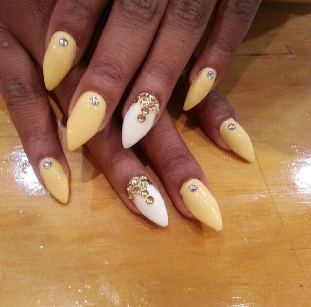 Yellow White Nails