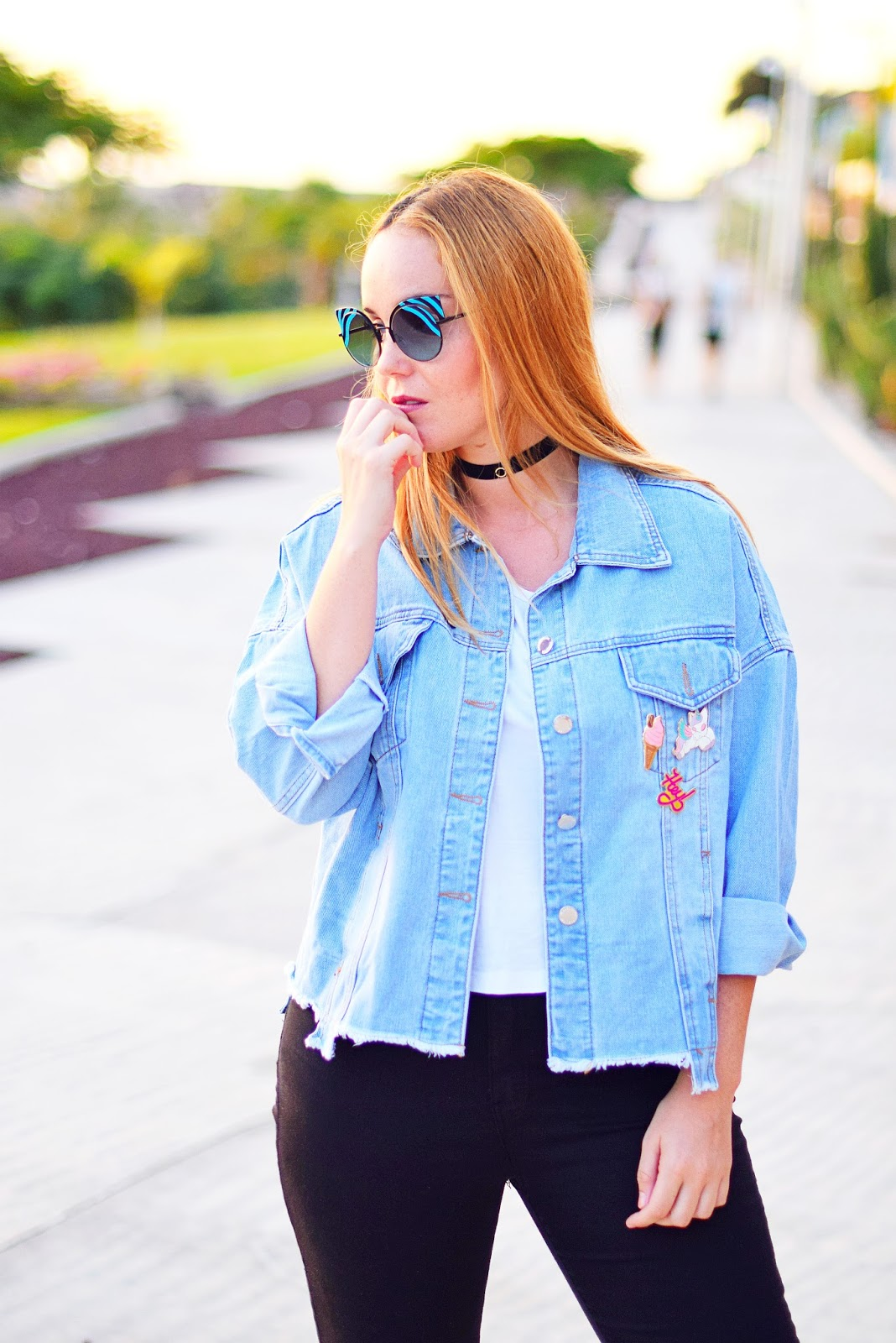 nery hdez, gearbest, denim jacket, choker, look años 90, pins, fendi, opticalh