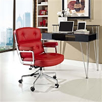 Retro Red Leather Office Chair
