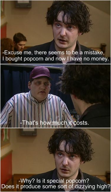 Bernard loses all his money on popcorn