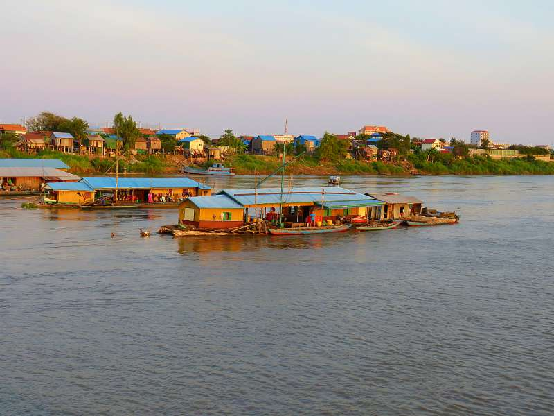 Mekong River floating houses