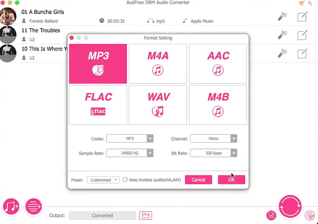 select tһе audio format