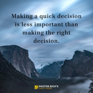 Every Decision Has a Price Tag by Rick Warren