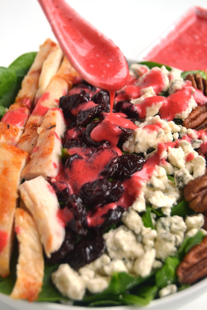 Michigan Cherry Salad with Cherry Vinaigrette is a perfect simple meal with grilled chicken, dried cherries, blue cheese, pecans, spinach and a homemade cherry vinaigrette. www.nutritionistreviews.com