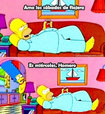 Homer: amo los sábados de flojera. Marge: Es miércoles Homero.