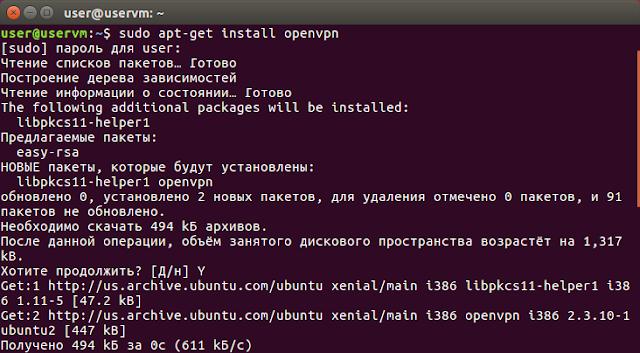 apt-get install openvpn