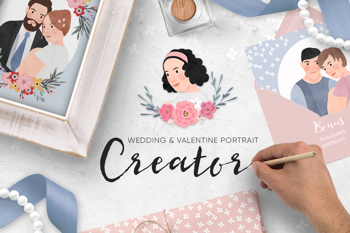 Personalized Wedding and Valentine portrait creator. Bundles of Flower elements and seamless patterns!