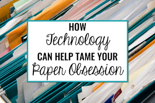 "Filing cabinet full of papers that says, ""How Technology Can Help Tame Your Paper Obsession."""