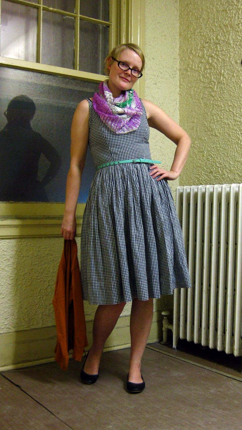 19ce34384a8 Vintage gingham sundress and silk scarf