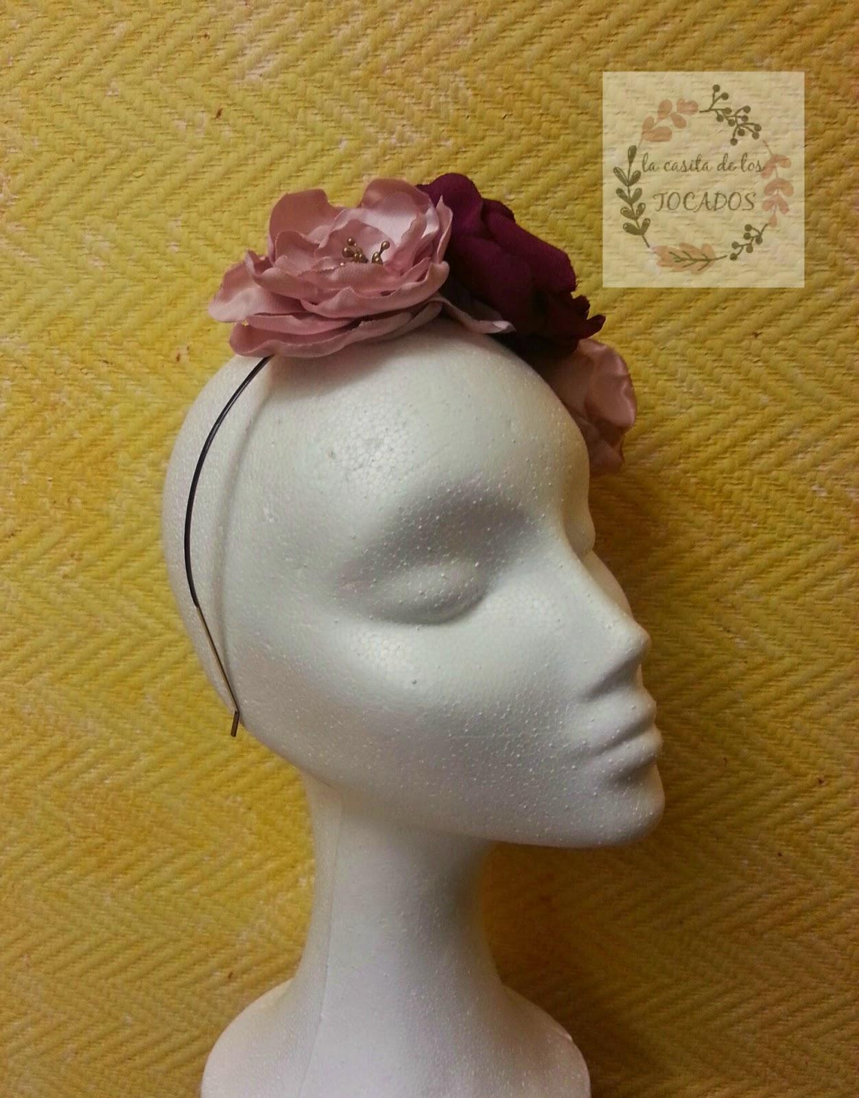 diadema barata hecha a mano para boda en rosa y buganvilla