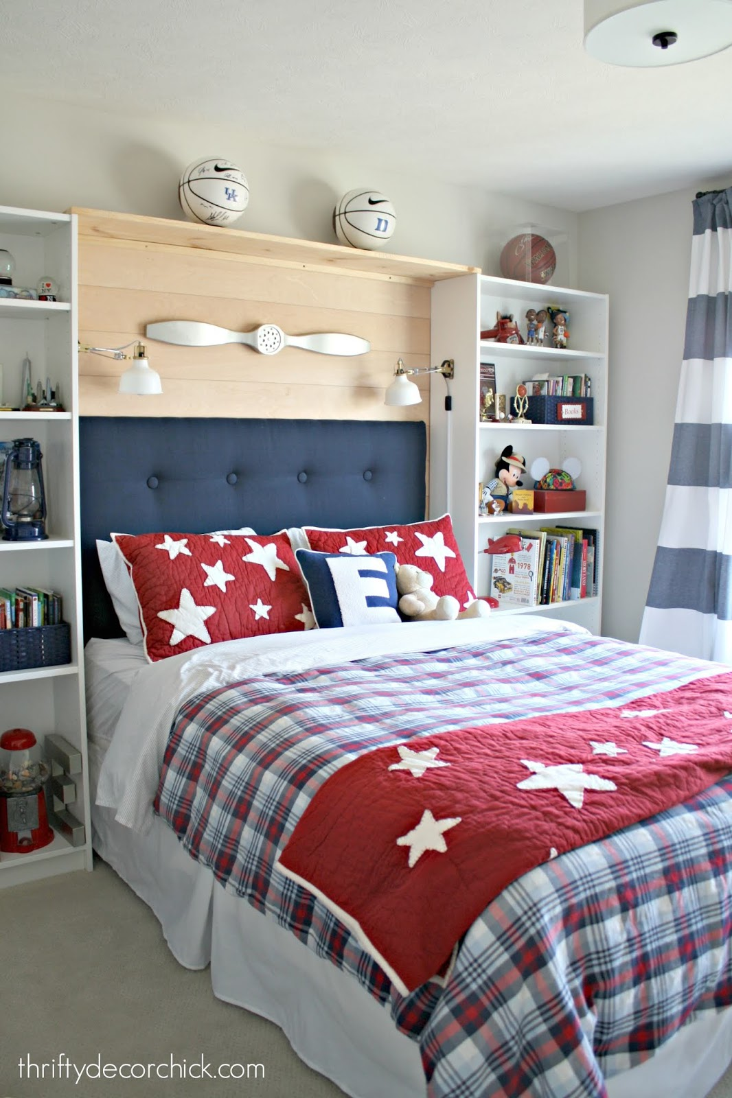 red white blue boy bedroom