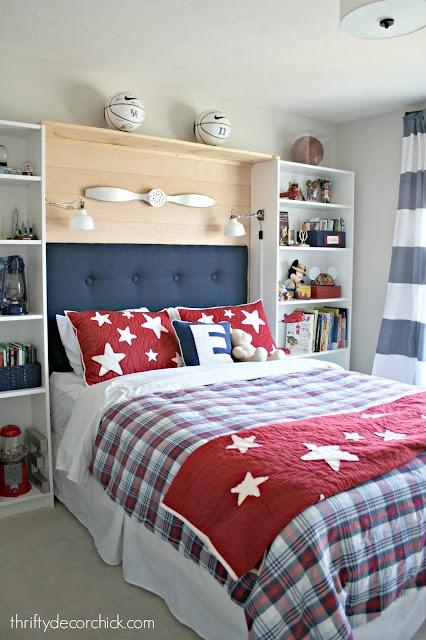 red white blue boy bedroom
