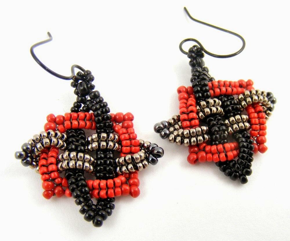 Sweet Freedom Designs: New Beadwoven Earrings: Celtic Stars