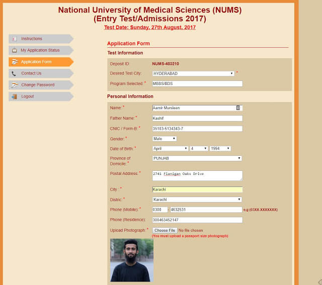 Admission Form for NUMS Online