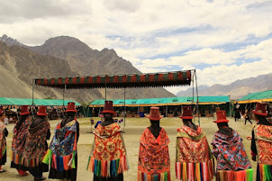 "Ladakh women dancers perforning at ""Sand Dunes Festival in Hunder."