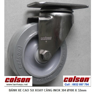 Bánh xe cao su đặc Performa càng inox Colson lăn không ồn | 2-4456-444 www.banhxepu.net