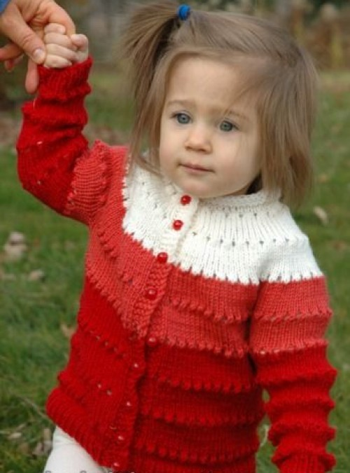Sweetheart Child's Eyelet Cardigan - Free Pattern